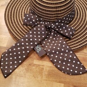 Accessories - Brown and Tan Striped Polka Dot Straw Hat